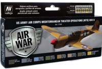 US Army Air Corps Mediterranean Theater Operations WWII Model Air Paint Set (8 Colors) Vallejo Paint