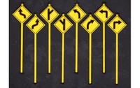 Road Path Warning Signs Set 1 (8) O Scale Tichy Trains