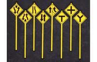 Road Path Warning Signs Set 3 (8) O Scale Tichy Trains