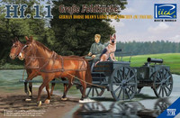 German Hf11 Horse Drawn Large Field Kitchen w/2 Horses, Figure & Dog 1/35 Riich