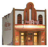 Built-N-Ready Theater 2-Story Building w/Installed LED Lighting O Scale Woodland Scenics
