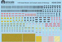Modern Jet Cockpit Dataplate & Warning Labels (Decal) 1/48 Airscale