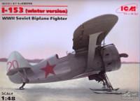 WWII Soviet I-153 Biplane w/Skis Fighter (Winter Version) 1/48 ICM Models