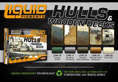 Hulls & Wooden Decks Ship Weathering Liquid Pigments Set (6 22ml Bottles) Lifecolor