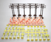 Layout Accessories Assortment (12 telephone poles & 24ea signs/figures) HO Bachmann Trains