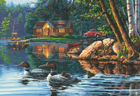 "Echo Bay (Ducks, Log Cabin) Paint by Number (20""x14"") Dimensions Paint by Number"