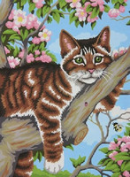 """Lazy Cat Laying in Tree Paint by Number (9""""x12"""") Dimensions Paint by Number"""