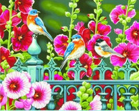 "Hollyhock Gate (Flowers/Birds) Paint by Number (14""x11"") Dimensions Paint by Number"