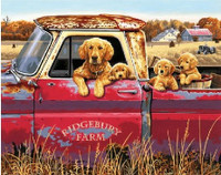 "Golden Ride (Dogs in Pickup Truck) Paint by Number (20""x16"") Dimensions Paint by Number"