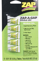 .01oz. Zap-A-Gap CA+ Single-Use Tubes (5/cd) Zap Glues