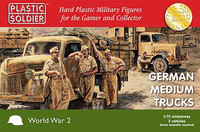 WWII German Medium Trucks (3) 1/72 Plastic Soldier