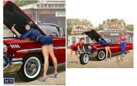 1950-60s Pin-Up Girl in Short Shorts Making Small Repair w/Wrench 1/24 Master Box Models