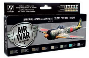 Imperial Japanese Army Colors Pre-War to 1945 Model Air Paint Set (8 Colors) Vallejo Paint