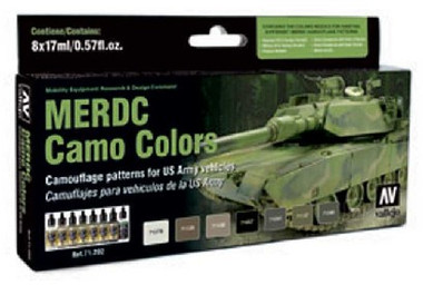 US Army Vehicles MERDC Camo Colors Model Air Paint Set (8 Colors) Vallejo Paint