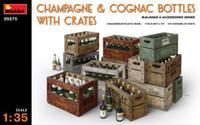 Champagne & Cognac Bottles w/Crates 1/35 Miniart