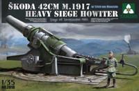 Skoda 42cm M1917 Heavy Siege Howitzer Gun w/Erich von Manstein Figure 1/35 Takom