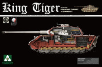 WWII German King Tiger SdKfz 182 Porsche Turret Heavy Tank w/Zimmerit & Interior 1/35 Takom