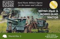 British 25-Pdr Gun, Morris Quad Tractor (4ea) & Crew (48) 15mm Plastic Soldier