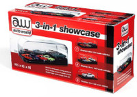 3-in-1 Auto Plastic Display Showcase for 1/64, 1/43, 1/24 w/Black Base & Interchangeable Inserts Auto World