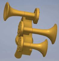 Nathan K3 K3LAR2 Air Horn 1 Forward/2 Back HO Scale Cal Scale