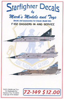 F-102 Daggers in ANG Service (NY, CT, PA) for MGK 1/72 Starfighter Decals