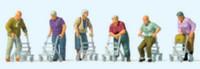 Elderly People w/Rolling Walkers (6) HO Scale Preiser Models