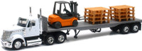 Int'l Lonestar Flatbed Trailer w/Forklift & Pallets (Die Cast) 1/43 New Ray