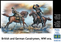 WWI British & German Fighting Cavalrymen (2 Figures w/Horses) 1/35 Masterbox