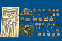 WWII US Army Equipment: pouches, helmets, straps, etc. (Resin/Photo-Etch) 1/35 Royal Model