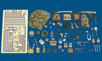 WWII German Army Equipment: pouches, helmets, straps, etc. (Resin/Photo-Etch) 1/35 Royal Model