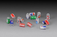 Soda Cans: 16 good & 16 dented (Resin w/Decals) 1/35 Royal Model