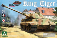 WWII German King Tiger SdKfz 182 Porsche Turret Heavy Tank w/Interior 1/35 Takom Models