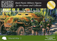 WWII German SdKfz 251/D Halftrack (5) & Crew (7 per vehicle) 15mm Plastic Soldier Company