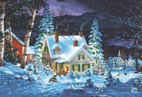 "Winter's Hush (House, Night/Snow Scene Paint by Number (20""x14"") Dimensions Paint by Number"