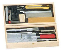 Deluxe Knife & Tool Set: Knives, Blades, Gouges, Routers, Mitre Box, Screwdrivers, Awl (Wooden Box) Excel Tools