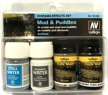 Mud & Puddles Diorama Effect Paint Set (4 Colors) 30ml Vallejo Paint