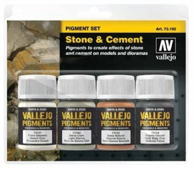 Stone & Cement Pigment Powder Set (4 Colors) 30ml Vallejo Paint