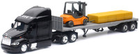 Peterbilt 387 w/Flatbed Trailer, Forklift & Hay Bale Load (Die Cast) 1/43 New Ray