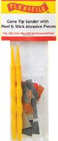 Cone Tip Sander Applicator Handle w/Peel & Stick Abrasives (3ea. 5 diff grits) Flex-I-File