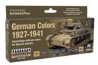 17ml Bottle German Vehicle Camouflage Colors 1927-1941 Model Air Paint Set (8 Colors) Vallejo Paint