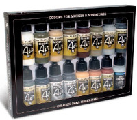 17ml Bottle German WWII Europe & Africa Model Air Paint Set (16 Colors) Vallejo Paint
