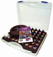 Basic Game Air Paint Set in Plastic Storage Case (28 Colors, Thinner, Cleaner & Airbrush w/Hose) Vallejo Paint
