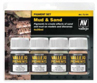 35ml Bottle Mud & Sand Pigment Powder Set (4 Colors) Vallejo Paint