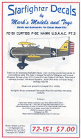 Curtiss P-6E Hawk USAAC Part 3 for RMX, ATE & Olimp 1/72 Starfighter Decals