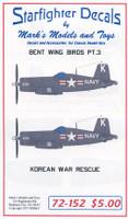 Bent Wings Bird Part 3 Korean War Rescue for RVL 1/72 Starfighter Decals