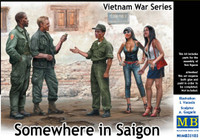 Somewhere in Saigon US Soldiers (2), Vietnamese Soldier & Prostitutes (2) Vietnam War 1/35 Master Box Models