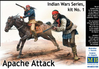 Apache Attack Indians w/Rifles (2) & Horse (1) 1/35 Master Box Models