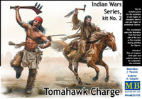 Tomahawk Charge Indians w/Weapons (2) & Horse (1) 1/35 Master Box Models