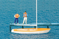 Sailboat w/2 Figures Standing Putting on Life Jackets HO Scale Preiser Models