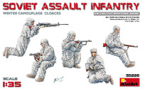 WWII Soviet Assault Infantry in Winter Camouflage Cloaks w/Guns (5) 1/35 Miniart Models